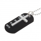 Simple Frosted Cross Shield Pendant Stainless Steel Necklace - Black + Silver
