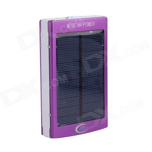 BTY 16000mAh Portable Solar Power Bank for Cellphones / IPAD / PSP / MP3 and More - Purple 1800mah portable solar power solar power battery pack for cell phones and usb gadgets