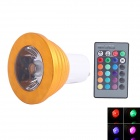 GU10 3W 180lm 1-LED RGB Light Spotlight w/ Remote Control - Golden + White (AC 85~265V)