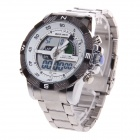 BESNEW BN-0797 Men's Analog + Digital Stainless Steel Wrist Watch - Silver + White