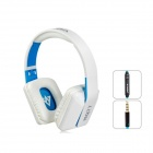 MQ77 Superb 3.5 mm On-ear Headphones with Microphone - White + Blue)