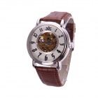 Sewor M101-1 Men's PU Leather Band Self-winding Mechanical Analog Wristwatch - Brown + Silver