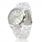 Women's Plastic Band Analog Quartz Wrist Watch - Translucent White (1 x 377)