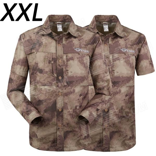 ESDY-611 Men's Outdoor Sports Climbing Detachable Quick-Drying Polyester Shirt - Camouflage (XXL) esdy 611 men s outdoor sports climbing detachable quick drying polyester shirt camouflage xxl