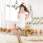 Women's Luring Sexy Nurse Style Cosplay Sleep Dress Lingerie Set - White