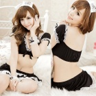 Women's Luring Sexy Maid Style Cosplay Sleep Dress Lingerie Set - Black
