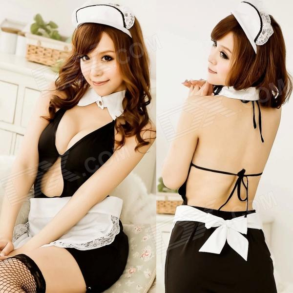 Womens Luring Sexy Maid Style Backless Cosplay Sleep Dress Lingerie Set - Black - DX - DXCosplay Supplies<br>Color Black Size Free Size Brand N/A Model N/A Quantity 1 Set Material Cotton blending Character Maid Chest Girth 64-84 cm Total Length 85 cm Suitable for Height 160-175 cm Packing List 1 x Top 1 x T-pants<br>