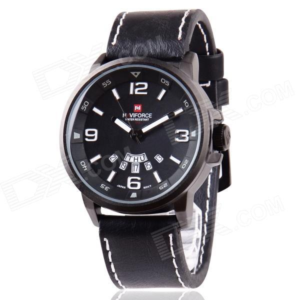 NaviForce Men's Military Style Date + Week Display Analog Quartz Wrist Watch - Black + White naviforce nav90252