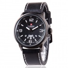 NaviForce Men's Military Style Date + Week Display Analog Quartz Wrist Watch - Black + White