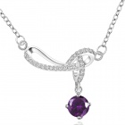 Stylish Purple Crystal Decorated Winding Pendant Silver Plating Necklace - Purple + Silver