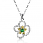 Stylish Shiny Crystal Studded Flower Pendant Silver Plating Necklace - Silver + Yellow + Green