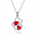 Stylish Shiny Crystal Studded Flower Pendant Silver Plating Necklace - Silver + Red