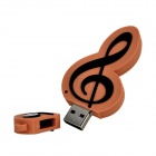 Music Note Style USB 2.0 Flash Drive - Light Brown + Black (4GB)