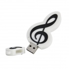 Music Note Style USB 2.0 Flash Drive - White + Black (4GB)