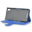 Fashionable Protective Flip-open PU + ABS Case w/ Stand / Card Slots for Sony Xperia Z2 - Blue