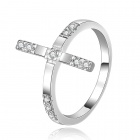Silver-plated Brass + Rhinestones Embedded Cross Style Ring for Women - White
