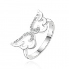 Silver-plated Brass + Rhinestones Embedded Angel Wing Style Ring for Women - White