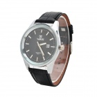 VaLia 8233-1 Men's Stylish PU Band Analog Quartz Wrist Watch w/ Calendar - Black (1 x SR626)