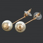 Women's Fashionable Artificial Pearl Zinc Alloy Earrings - White + Golden (Pair)