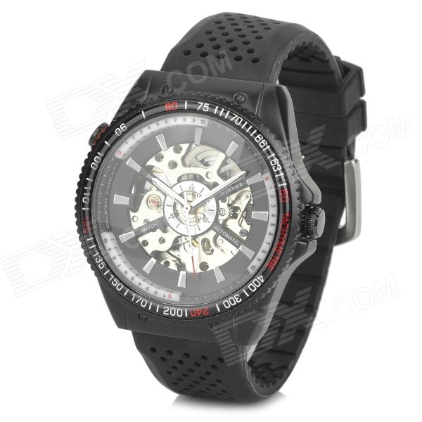 WINNER 7609 Fashion Men's Mechanical Wrist Watch w/ Rubber Band - Black + White miracle moment fashion stylelish mens womens unique hollowed out triangular dial black fashion watch ag3