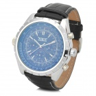 Jaragar 4139 Men's Fashion Mechanical Wrist Watch w/ Leather Band - Blue + Black + Silver