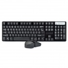 2.4GHz Wireless Waterproof 104-Key Gaming Keyboard + Optical Mouse Set - Black