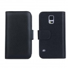 Stylish Flip Open PC + PU Case w/ Stand / Card Slots for Samsung Galaxy S5 - Black