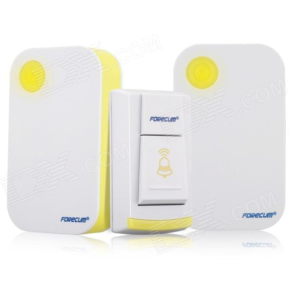 Forecum 4f Water-resistant Wireless Remote Control Doorbell Set - White + Yellow