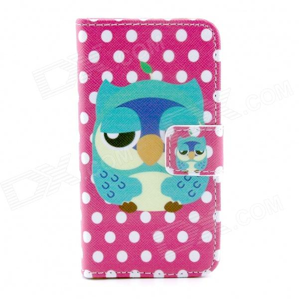 Owl Pattern PU Leather Full Body Case with Stand / Card Slot for IPHONE 4 / 4S - Deep Pink + White silk grain leather stand case for iphone 7 plus with card slot dark blue