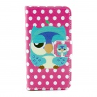 Owl Pattern PU Leather Full Body Case with Stand / Card Slot for IPHONE 4 / 4S - Deep Pink + White