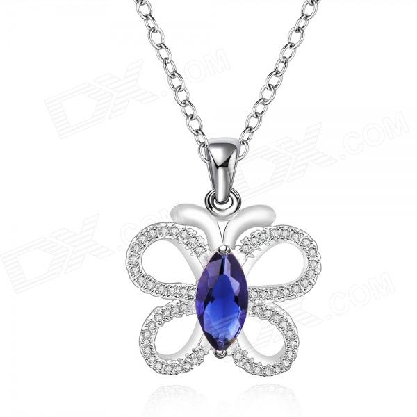 925 Silver Rhinestones Embedded Butterfly Style Pendant Necklace for Women - Silver + Blue elegant 925 pure silver necklace for women silver