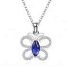 925 Silver Rhinestones Embedded Butterfly Style Pendant Necklace for Women - Silver + Blue