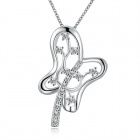 925 Silver Rhinestones Embedded Butterfly Style Pendant Necklace for Women - Silver