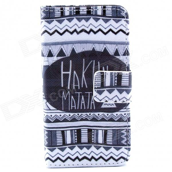 Hukuna Matata Pattern PU Leather Case w/ Stand / Card Slot for IPHONE 4 / 4S - Black + White cute owl pattern pu leather flip open case w stand card slot for iphone 4 4s multi color