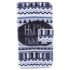 Hukuna Matata Pattern PU Leather Case w/ Stand / Card Slot for IPHONE 4 / 4S - Black + White