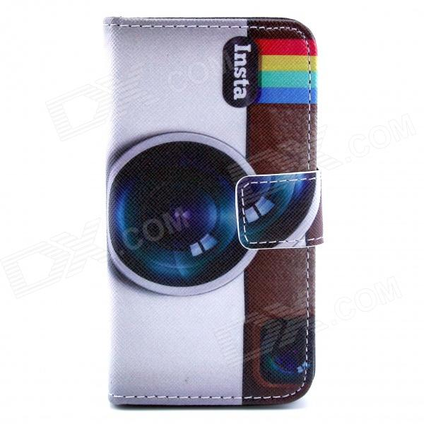 Camera Pattern PU Leather Full Body Case with Stand and Card Slot and Money Holder for IPHONE 4 / 4S cute owl pattern pu leather flip open case w stand card slot for iphone 4 4s multi color