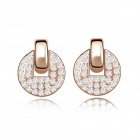Fashion Women's Round Gold-plated Alloy + Crystals Stud Earrings - White + Golden (Pair)