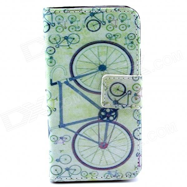 Bicycle Pattern PU Leather Full Body Case w/ Stand and Card Slot and Money Holder for IPHONE 4 / 4S metal chain handbag style pu tpu full body case w card slot for iphone 6 4 7 gold