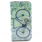Bicycle Pattern PU Leather Full Body Case w/ Stand and Card Slot and Money Holder for IPHONE 4 / 4S