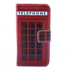 Telephone Box PU Leather Full Body Case with Stand and Card Slot and Money Holder for IPHONE 4 / 4S