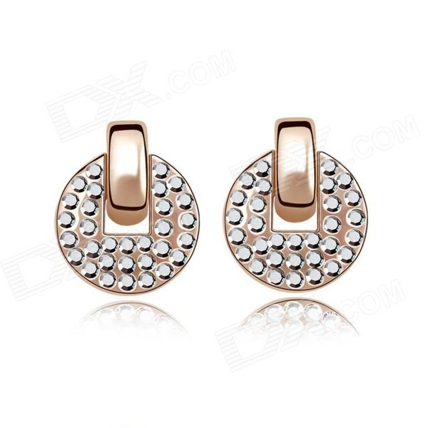 Fashion Women's Round Gold-plated Alloy + Crystals Stud Earrings - Rose Golden (Pair) pair of elegant gold plated zircon stud earrings for women