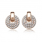 Fashion Women's Round Gold-plated Alloy + Crystals Stud Earrings - Rose Golden (Pair)