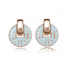Fashion Women's Round Gold-plated Alloy + Crystals Stud Earrings - White + Blue (Pair)