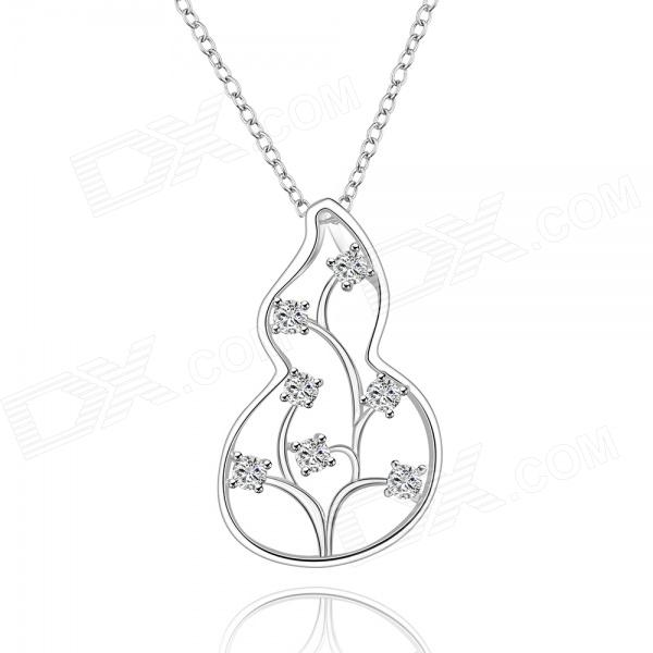 925 Silver Rhinestones Embedded Cucurbit Style Pendant Necklace for Women - Silver