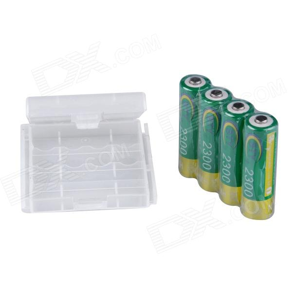 BTY CM01 Rechargeable 1.2V 2300mAh AA Ni-MH Batteries w/ Plastic Battery Case - Green + Gold (4 PCS) bty 1 2v 3000mah ni mh rechargeable aa batteries pair