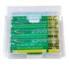 BTY CM01 Rechargeable 1.2V 2300mAh AA Ni-MH Batteries w/ Plastic Battery Case - Green + Gold (4 PCS)
