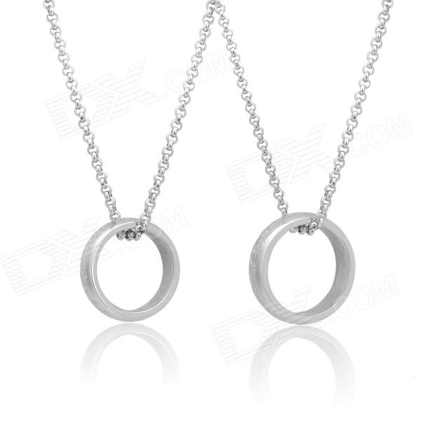 KCCHSTAR Ring Style 316L Stainless Steel Pendant Necklace Suit - Silver (2 PCS) kcchstar the eye of god high quality 316 titanium steel necklaces golden blue