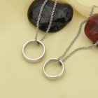 KCCHSTAR Ring Style 316L Stainless Steel Pendant Necklace Suit - Silver (2 PCS)