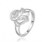 Silver-plated Brass + Rhinestones Embedded Leaf Style Ring for Women - Silver