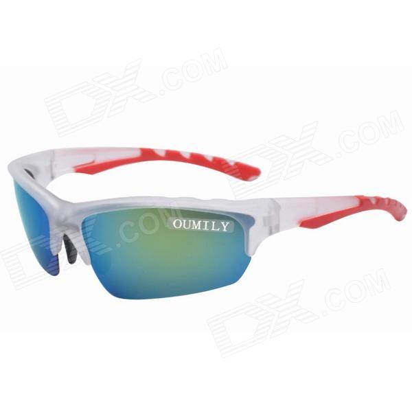 OUMILY Resin Lens Outdoor Cycling UV400 Polarized Goggles - Translucent White + Blue harlem hl 956 convenient folding outdoor pvc pail bucket translucent white green 10l